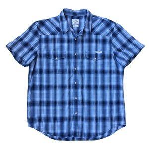 EUC Lucky Brand women's blue plaid western shirt